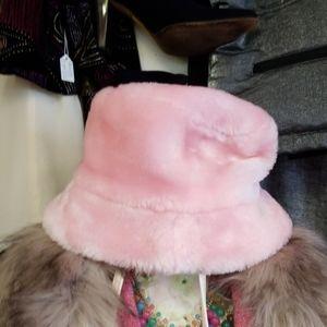 Faux Pink Fur Hat
